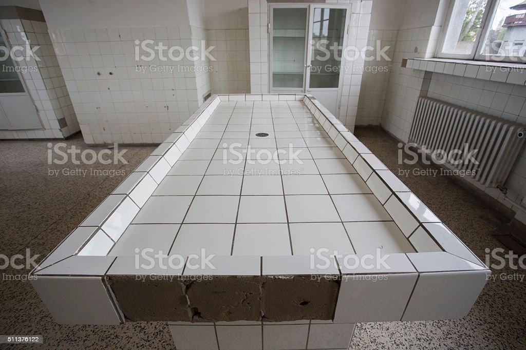 mortuary slabs stock photo