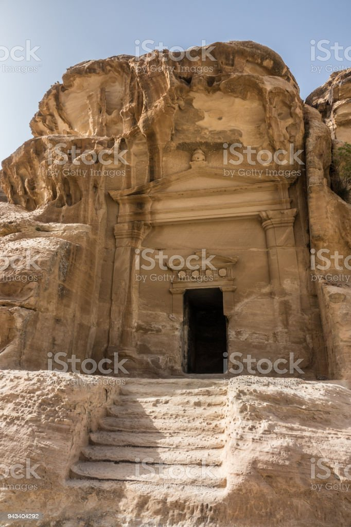 Mortuary temple carved in stone in Petra stock photo