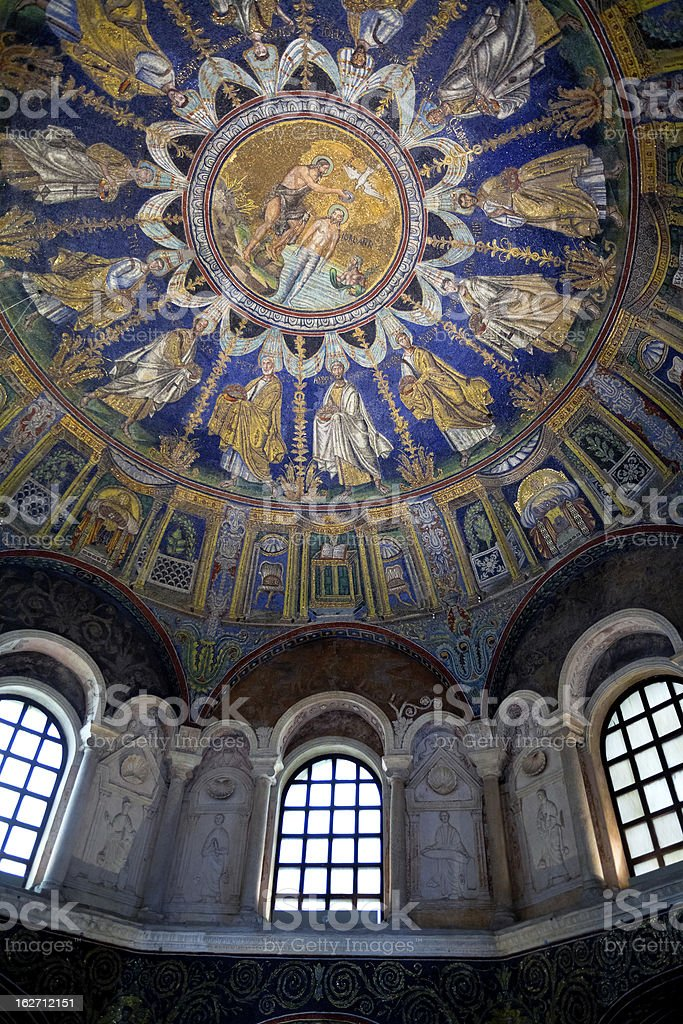 Mosaic and stuccoes of the neoniano Baptistery royalty-free stock photo