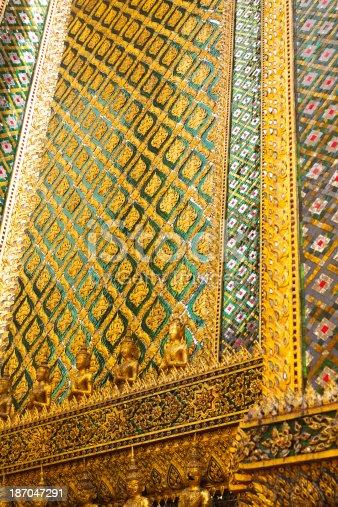 Mosaic at wall of Phra Mondop in Wat Phra Kaeo, Bangkok.