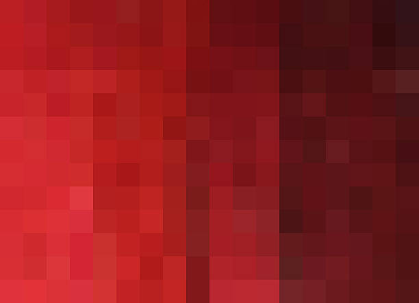 Mosaic Background, pixels background, bright to deep red gradation - Photo