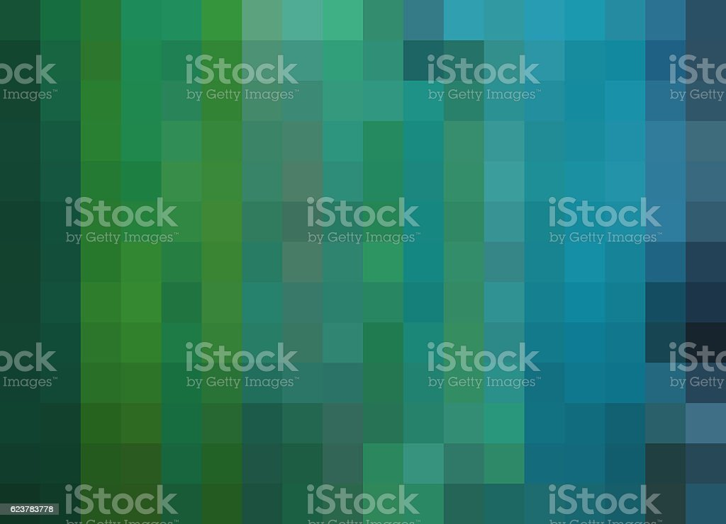 Mosaic Background, pixels background, deep green, blue, teal stock photo