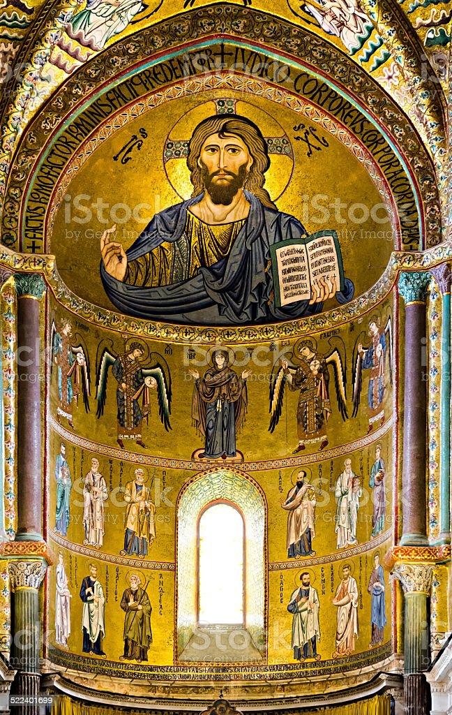 Mosaic Byzantine rite in Sicily stock photo