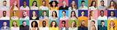 Mosaic of happy and successful people on bright backgrounds, panorama