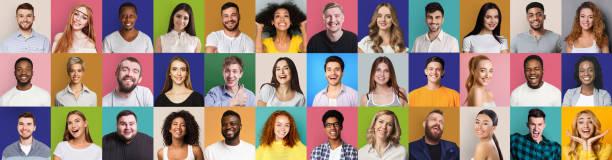 행복하고 성공적인 사람들의 모자이크 콜라주 - 사람들 뉴스 사진 이미지