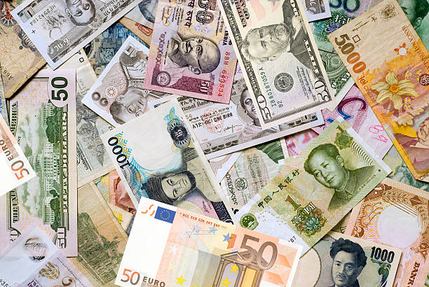 Mosaic collection of world currencies stock photo