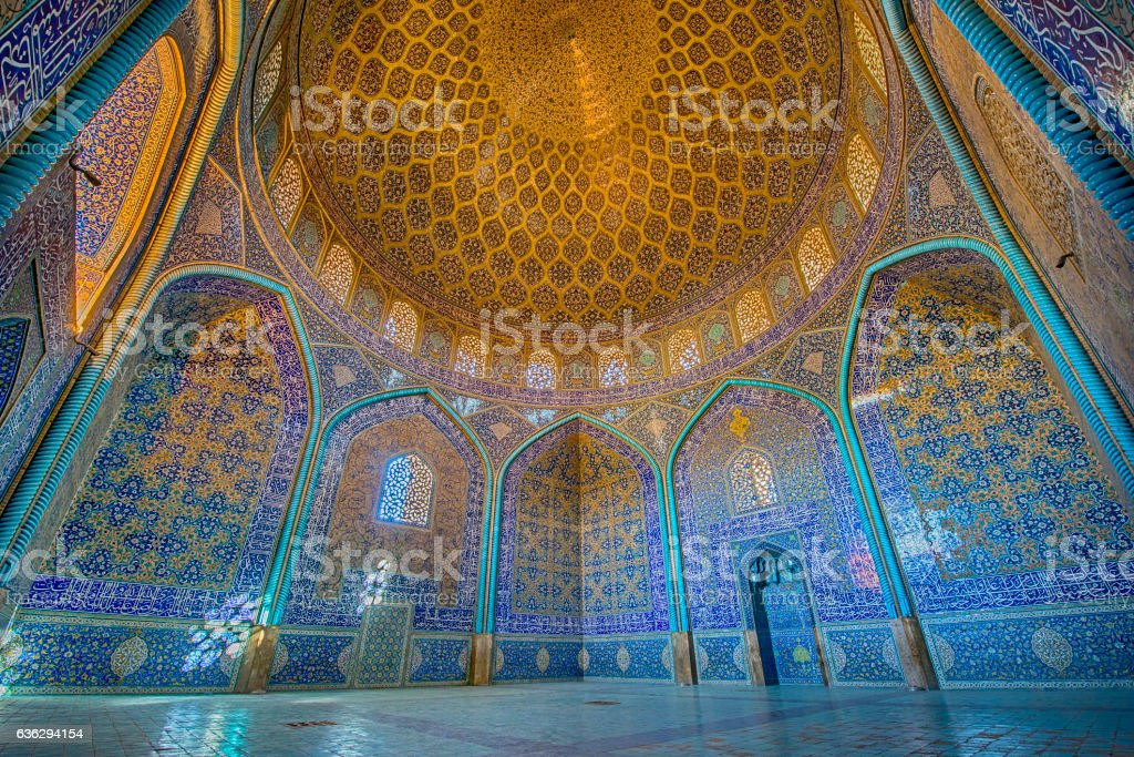 Mosaic decoration inside of Sheikh Lotfollah Mosque, Isfahan stock photo