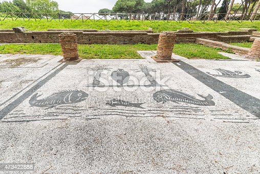 172477241 istock photo Mosaic detail in the old town of Ostia, Rome, Italy 473422888