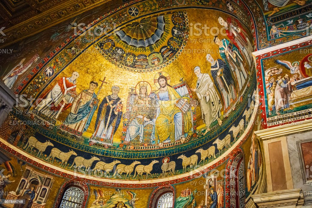 mosaic detail of the apse of the church of Santa Maria in Trastevere in Rome stock photo