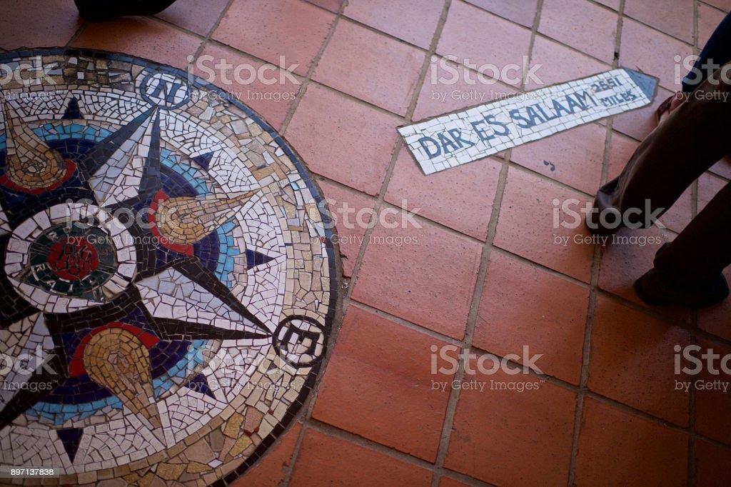Mosaic Directional Sign to Dar Es Salaam