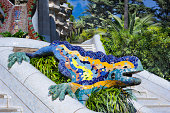 In Gaudi's Park Guell, Barcelona, a UNESCO World Heritage Centre, a mosaic dragon which has become the symbol of Barcelona.