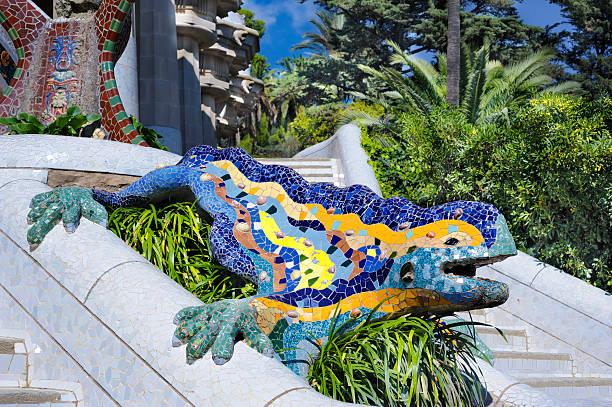 Mosaic dragon, Park Gwell, Barcelona stock photo