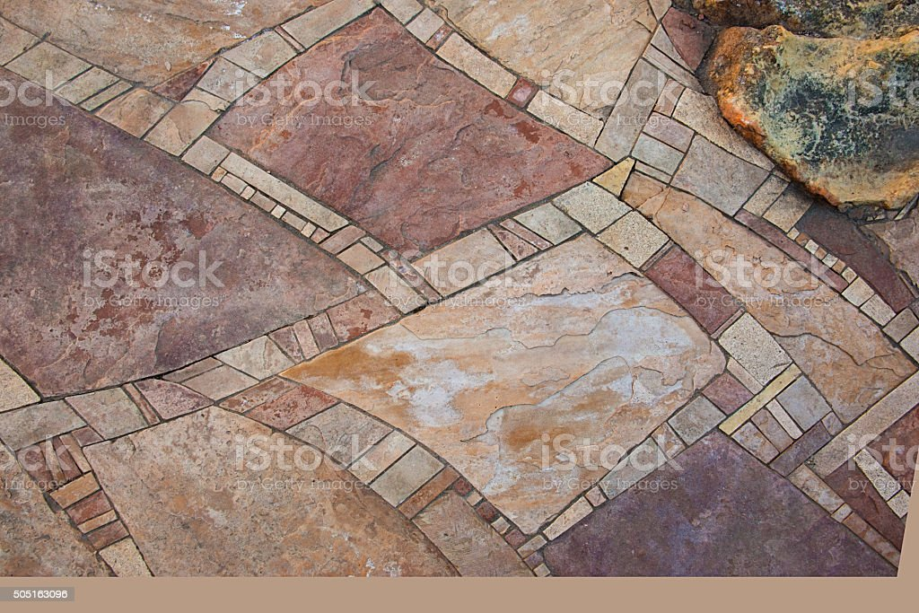 Mosaic Flagstone Walkway Background, Closeuo, Full Frame stock photo