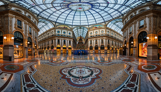 Mosaic Floor and Glass Dome in Galleria Vittorio Emanuele II