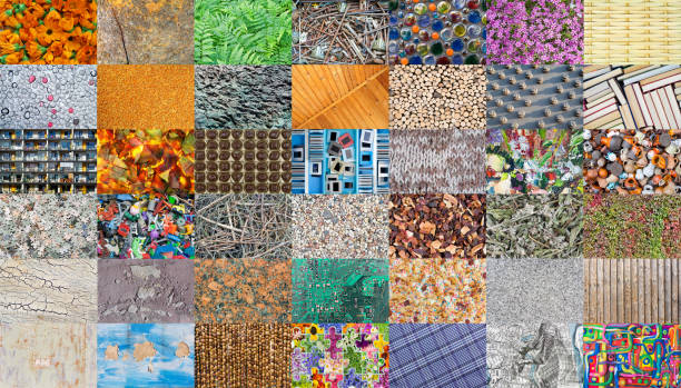 mosaic from  diverse natural and handmade textures. all full size images you can find in my porfolio - nails ice cream imagens e fotografias de stock