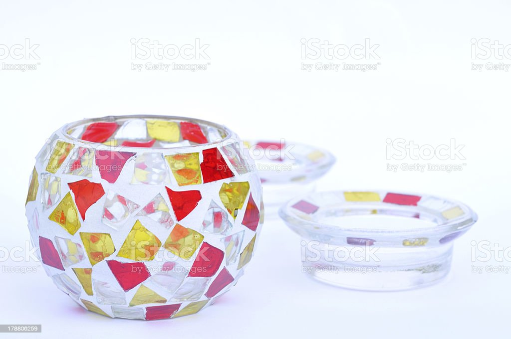 Mosaic glass candle holders on white royalty-free stock photo
