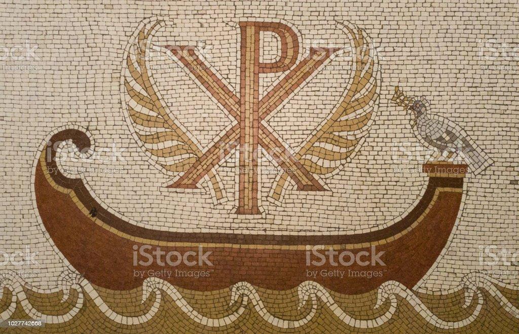 Mosaico en la Abadía de la Dormición (iglesia del Cenáculo) en el Monte Sión, Jerusalén, Israel. - foto de stock