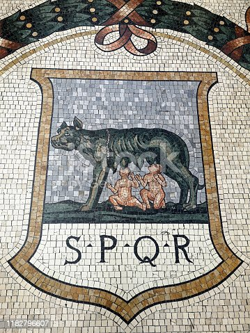 Detail from the mosaic floor in the Galleria Vittorio Emanuele II, Italy's oldest active shopping mall housed within a four-story double arcade in the center of Milano, Italy