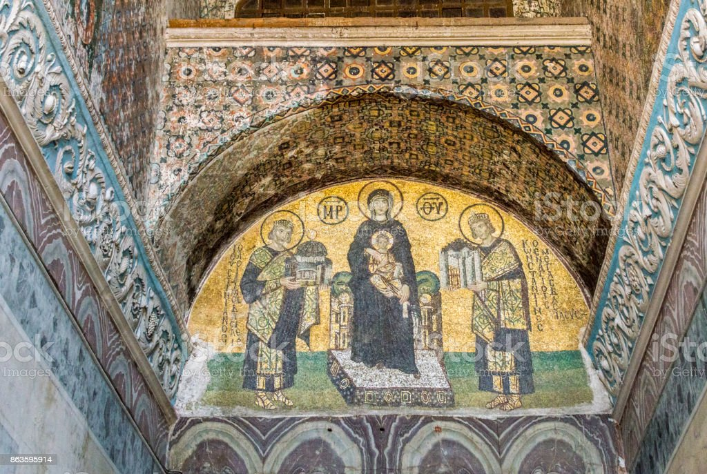 Mosaic in the Hagia Sophia, Istanbul, Turkey stock photo