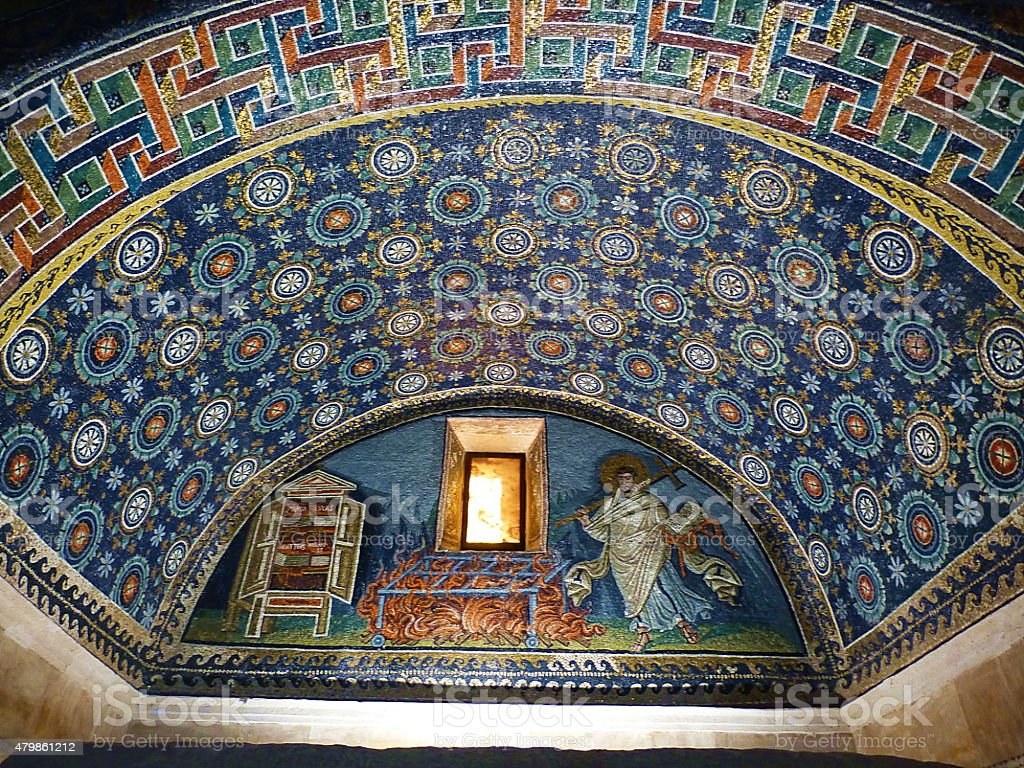 Mosaic in the Mausoleum of Santa Placidia in Ravenna, Italy stock photo