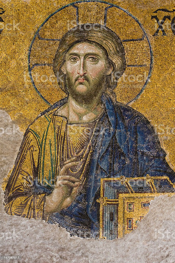 Mosaic Jesus Christ figure stock photo