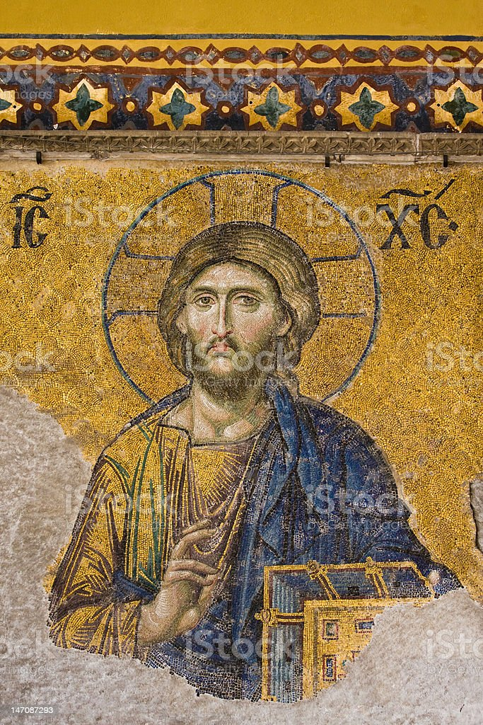 Mosaic Jesus Christ figure stock photo