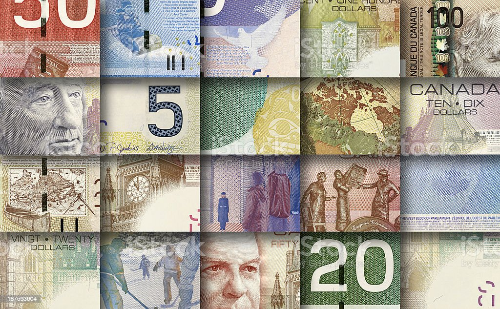 mosaic made by pieces of Canadian banknotes stock photo