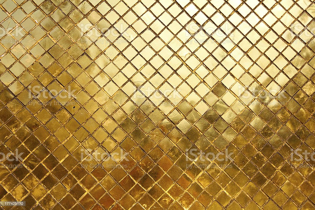 Mosaic made of gold tiles, background royalty-free stock photo