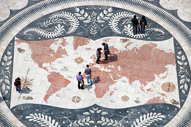 mosaic map in belem district of lisbon, portugal - people lisbon imagens e fotografias de stock