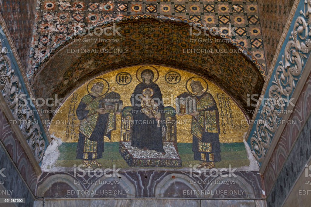 Istanbul, Turkey - May 25, 2013: Mosaic murals inside of Hagia Sophia, in Istanbul, Turkey. stock photo
