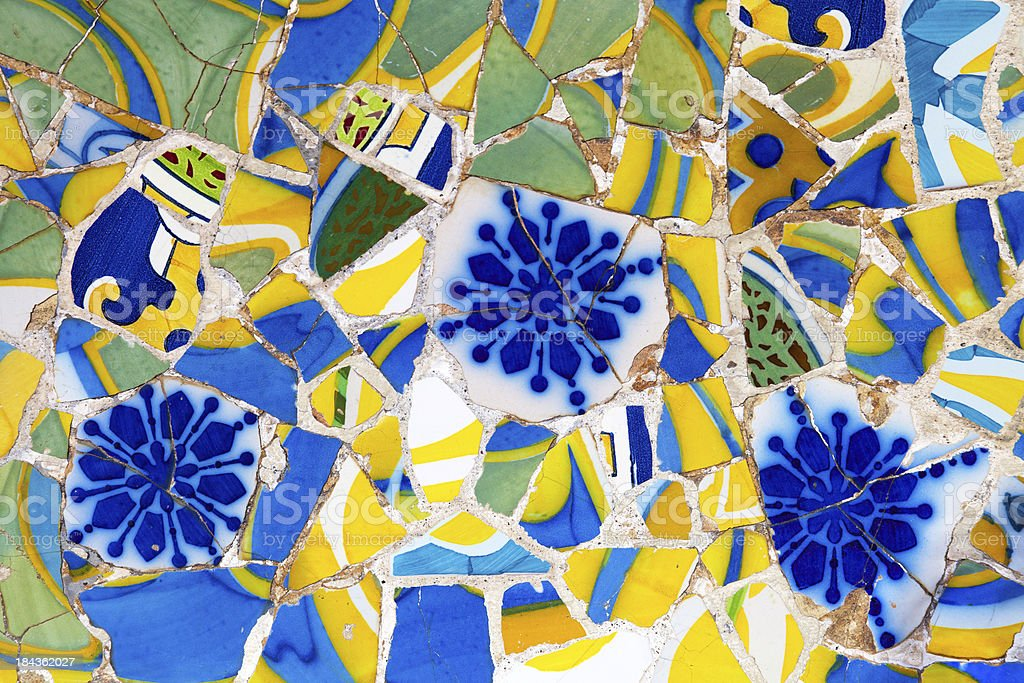 Mosaic of broken tiles stock photo