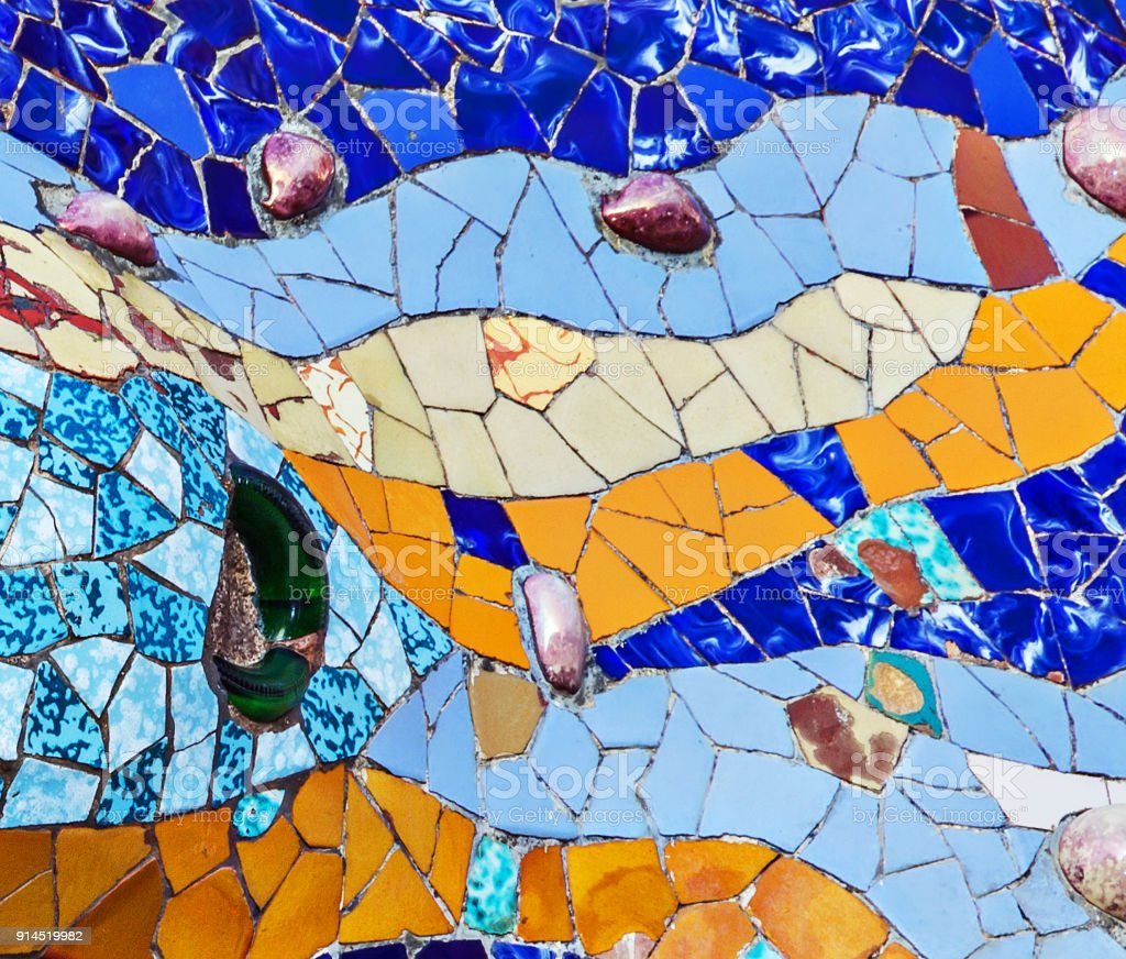 Mosaic Of Colored Ceramic Tile By Antoni Gaudi At His Parc Guell ...