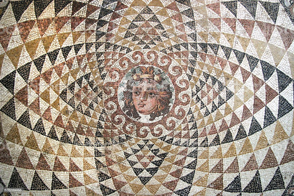 Mosaic of Dionysos, from the ruins of Corinth, Greece. stock photo