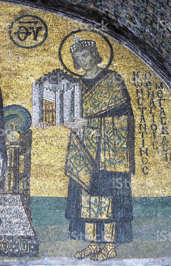 Mosaic of Emperor Constantine royalty-free stock photo