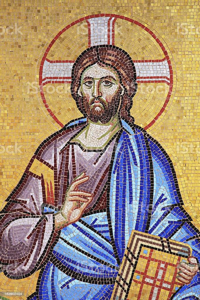 Mosaic of Jesus Christ At Kykkos Monastery Cyprus stock photo