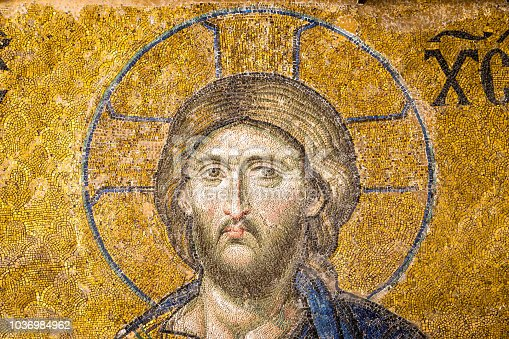 istock Mosaic of Jesus Christ found in the old church of Hagia Sophia in Istanbul, Turkey 1036984962