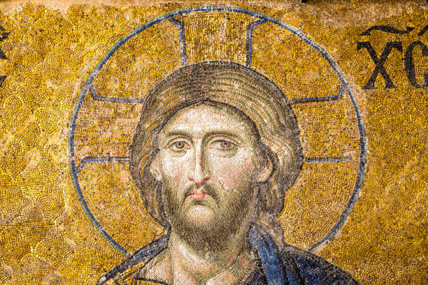 mosaic of jesus christ found in the old church of hagia sophia in istanbul, turkey - jesus cristo imagens e fotografias de stock