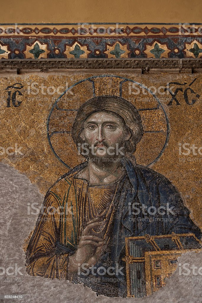 Mosaic of Jesus Christ in Hagia Sophia stock photo