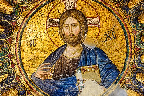 mosaik von jesus christus, istanbul, türkei - türkische fliesen stock-fotos und bilder