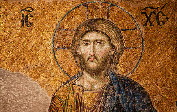 Mosaic of Jesus Christ Mosaic image details of Jesus Christ from Hagia Sophia (Ayasofya) in Istanbul Turkey religious symbol stock pictures, royalty-free photos & images