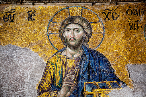 Mosaic From The Byzantine Era In The Hagia Sophia Of Istanbul, Turkey