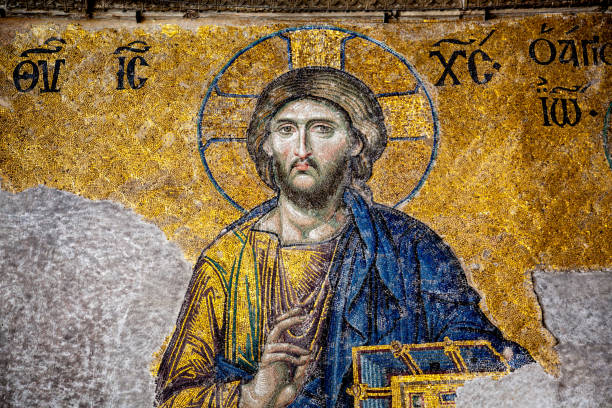 Mosaic Of Jesus From The Hagia Sophia stock photo