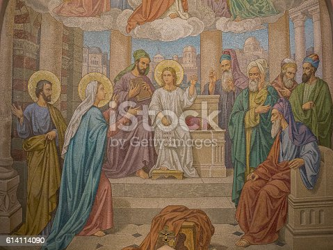 Mosaic of Jesus lost and found in the Temple, in the Rosary Basilica at Lourdes
