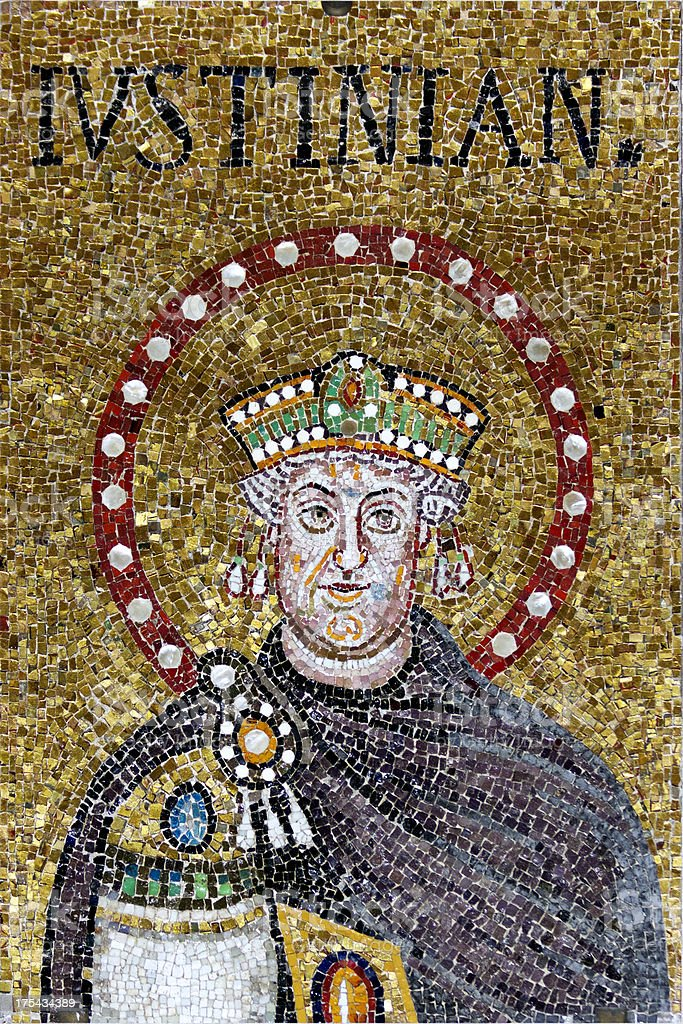 Mosaic of Justinian stock photo