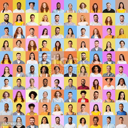 istock Mosaic Of Many Cheerful People Faces In Square Collage 1307930552