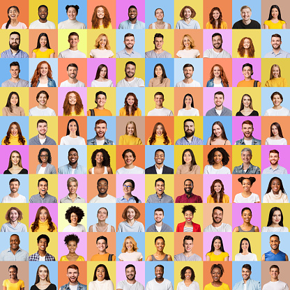 Mosaic Of Many Cheerful Faces In Square Collage. Happy Successful Multicultural People Portraits Of Smiling Females And Males On Colorful Studio Backgrounds. Diversity Concept