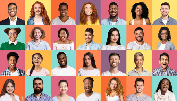 Mosaic Of People Portraits With Multiracial Faces On Colorful Backgrounds Diversity Concept. Mosaic Of People Portraits With Multiracial Smiling Faces On Colorful Backgrounds. mosaic stock pictures, royalty-free photos & images