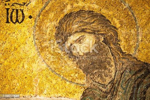 Mosaic of Saint John the Baptist in the Hagia Sophia, Istanbul, Turkey.