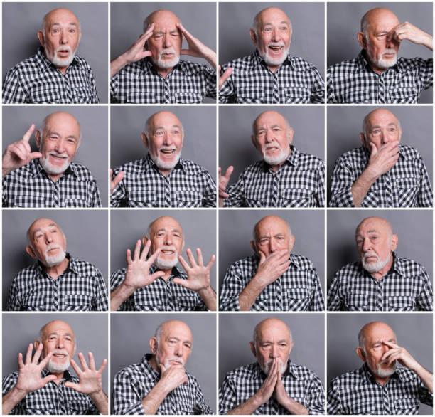 mosaik von senior woman emotionen - zum totlachen stock-fotos und bilder