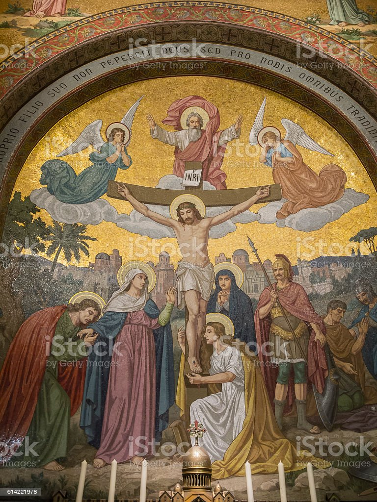 mosaic of the death of jesus on the cross stock photo 614221978